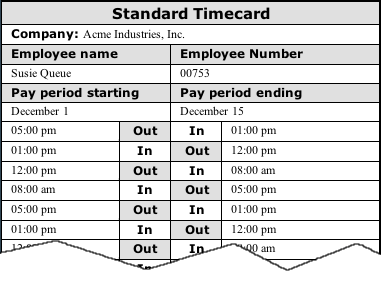 sample of $7.00 printable time card