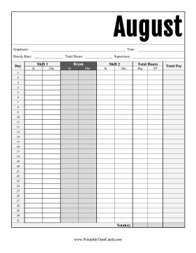 August Time Card Time Card