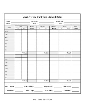 Bi-Weekly Time Card 3 Blended Rates Time Card
