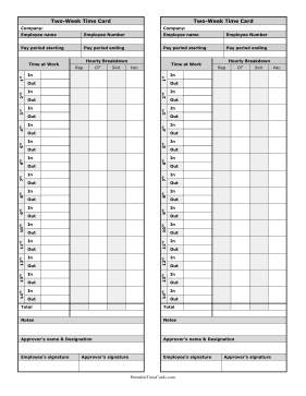 Bi-Weekly Time Card Hourly Breakdown Time Card