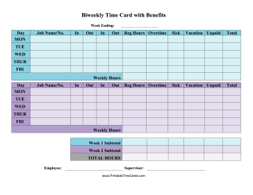 Biweekly Time Card With Benefits Time Card  Free Time Card Template