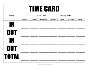 Large Print Time Card Horizontal Time Card