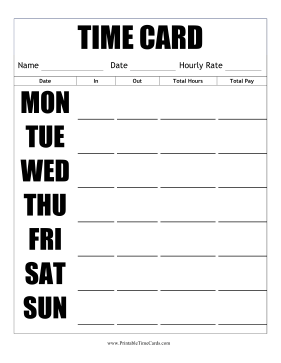 Large Print Time Card Vertical Time Card