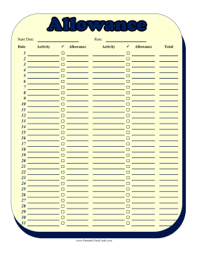 Monthly Allowance Multiple Activities Time Card Time Card