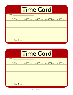 Multi-Child Daily Time Card Time Card