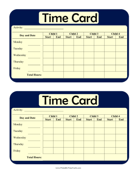 Multi-Child Weekly Time Card Time Card