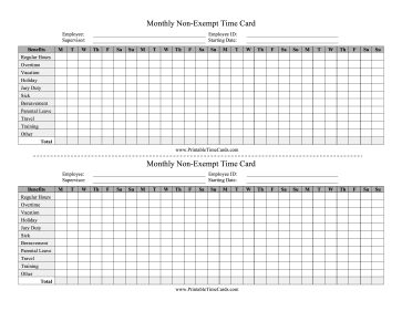 Non-Exempt Time Card Monthly Time Card