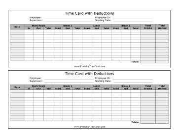 Time Card with Deductions Time Card