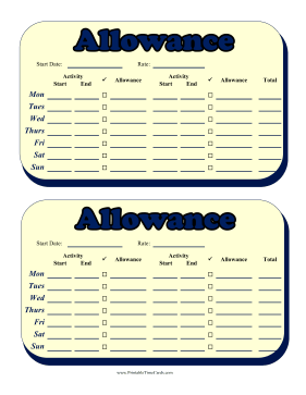 Weekly Allowance Multiple Activities Time Card Time Card