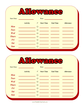Weekly Allowance Time Card Time Card