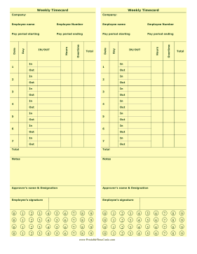 Weekly Punch Time Card Time Card