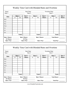 Weekly Time Card 3 Blended Rates Overtime Time Card