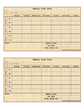 free printable time cards